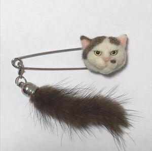 羊毛フェルト 猫ストールピン キジ白