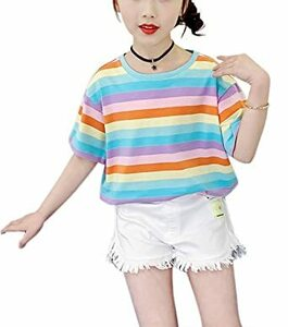 レインボー 120 女の子 長袖 半袖 tシャツ ボーダー トップス 夏 春 秋 韓国 綿 子供服 110-160