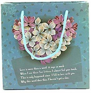 M naissant 【6枚セット/マジックテープ付】ギフトバッグ 手提げ袋 5枚セット お花 花束 ハート柄 紙袋 オシャレ