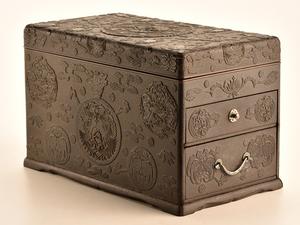 【流】古美術品 龍鳳凰図堆黒引出付硯箱 箱付 TB176