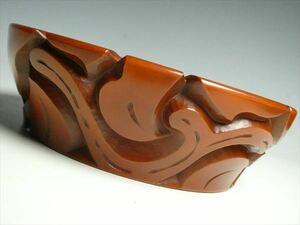 K239 鎌倉彫 最高峰 博古堂 作 高級漆器 天然木 漆塗 彫文 菓子鉢 盛器