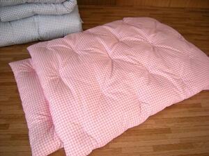 安心の綿100% 手作りお昼寝布団1組 ギンガムチェック柄ピンク