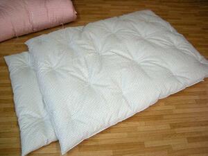 安心の綿100% 手作りお昼寝布団1組 ストライプ柄ブルー