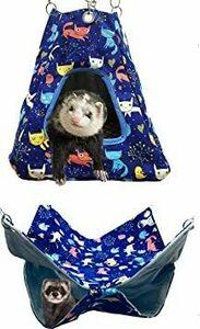 限定価格!FULUE 小動物 ペットフェレット モモンガ シマリス用 テントと2階のハンモック 寝袋 休憩所 遊び場 2個0FYS