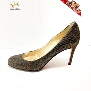クリスチャンルブタン CHRISTIAN LOUBOUTIN パンプス 37 1/2 - グリッター×化学繊維 黒×ゴールド レディース 靴
