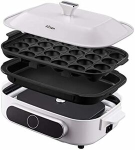 ホワイト AIHOM ホットプレート 平面+たこ焼き器プレート(標準)マルチポット グリル鍋 たこ焼き 焼肉マル ワンタッチ操作