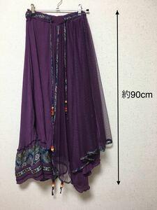 スカート 紫 アジアン ロング ロングスカート