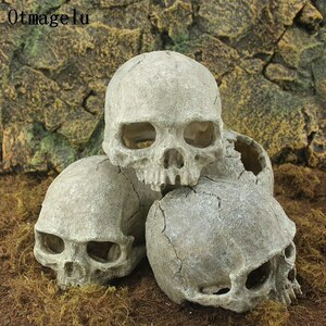 樹脂 スカル 頭蓋骨 テラリウム 洞窟 水族館 水槽 装飾 飾り アクアリウム インテリア オブジェ オーナメント 隠れ家 熱帯魚 爬虫類