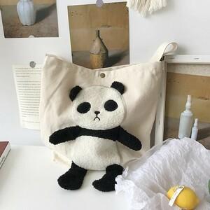 【白】パンダ トート ショルダー バッグ ホワイト