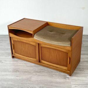 アンティーク 家具 テレフォンベンチ 1960年頃 チーク材 イギリス 英国 ビンテージ家具/ 輸入家具 北欧家具 収納 店舗什器 888A