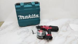△中古品 工具 高圧エアビス打ち機 MAKITA AR411HR カラー:レッド ケース付き マキタ