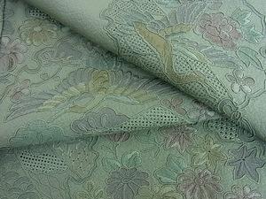 花美人着物■中国三大刺繍 スワトウ刺繍 汕頭刺繍 訪問着 几帳雪輪花鳥文 逸品 ic1093