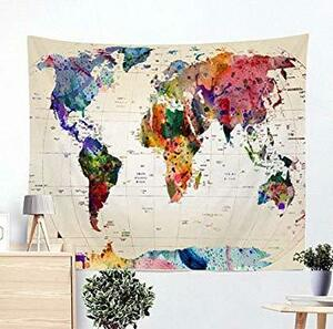 World Map Garion Watercolor Water Color World Map Wall-mounted Tapestry Abstract Map Wall Decorative House Living Room