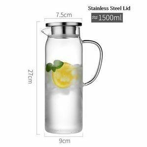 新品 透明 ジャグポット 加熱可能 ピッチャー ケトル 飲食店 耐熱 バー 1.5L/1.7L カフェ ボトル ガラUE98