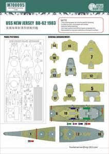 M700095 1/700 WWII アメリカ海軍 戦艦 BB-62 ニュージャージー 1983年型用マスキングシール トランペッター 05702