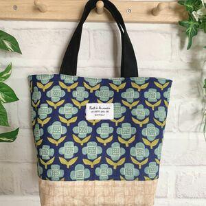 ハンドメイド ミニトートバッグ ネイビー&水色のお花 花柄 北欧風 トートバッグ サブバッグ