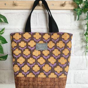 ハンドメイド ミニトートバッグ ブラウン&黄色いお花 花柄 北欧風 トートバッグ サブバッグ