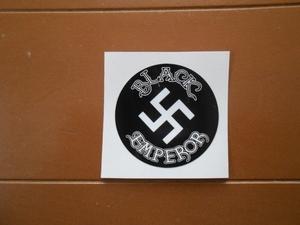 暴走族、旧車會、ブラックエンペラー円形ステッカー(黒×白)関東連合、黒帝會