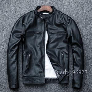 ★高級 本革 牛革 メンズライダース レザー バイクジャケット バイクウェア 革ジャン 黒 S~4XLサイズ選択可 HQ016