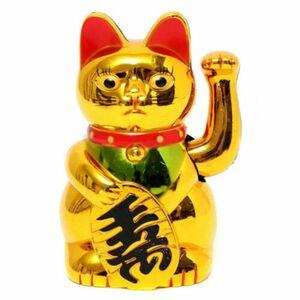 手招き猫 招き猫 ビジネスチャンス 富 ラッキーグッズ ★新品★ ゴールドキャット 逆輸入 幸運グッズ おもちゃ 猫 金 玄関 店内