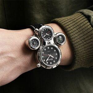 大特価!Oulm 新ユニークなデザイン 2 タイムゾーン男性腕時計装飾コンパス男性のスポーツ腕時計カジュアルクォーツメンズ腕時計