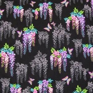 鬼滅の刃。激安!胡蝶しのぶイメージ生地、枝垂れ藤の花、ブラック
