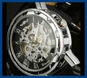 5◆新品・未使用◆機械式腕時計黒 クロノグラフ アンティーク 正規品 クオーツ バーバリー D&G スオッチ スケルトン シルバー ウイナー⑫