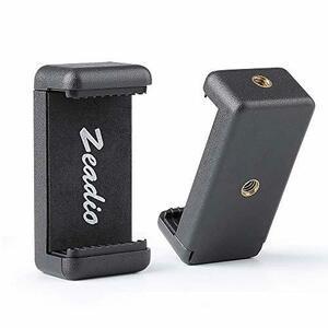 Zeadio Zeadioスマートフォン三脚ホルダー 携帯電話マウントアダプター自撮り棒一脚調整可能なクランプ