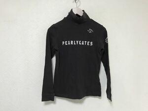 本物パーリーゲイツPEARLYGATESコットンストレッチロゴプリントハイネックタートル長袖ロングTシャツレディースゴルフXS黒ブラック日本製