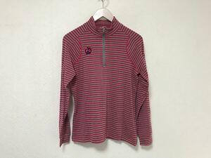 本物パーリーゲイツPEARLYGATESロゴワッペンハイネックタートルハーフジップ長袖ロングTシャツレディースゴルフ1Sボーダー柄日本製赤レッド
