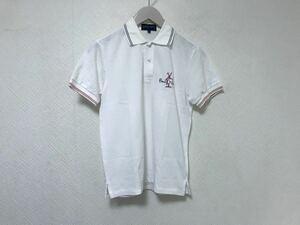 美品本物パーリーゲイツPEARLYGATESロゴ半袖ポロシャツレディースゴルフ0XS白ホワイト日本製