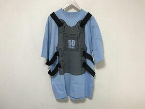 本物ジーユニットクロージングGUNIT防弾チョッキプリント半袖TシャツメンズブルーXLストリートスケーター