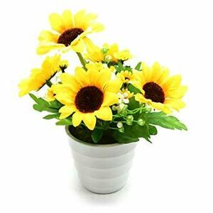 BEADY ヒマワリ 円の鉢 盆栽 造花 人工観葉植物 造花 光触媒 フェイクグリーン インテリア ギフト お祝い