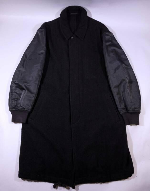 名作 COMME des GARCONS HOMME 超希少 1996AW 袖MA-1切替ステンカラーコート M ブラック/奇跡的な極美品 アンダーカバー サンプリング