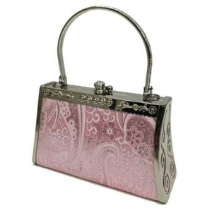 ハンドバッグ フォーマル ロングチェーン付 ショルダーバッグ クラッチバッグ パーティーバッグ がま口 ピンク