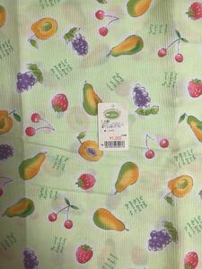 未使用★日本製★248cmコットン100%布地・果物柄・グリーン ハギレ