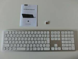 seenda ワイヤレスキーボード 無線キーボード 日本語配列 2.4GHz 充電式 薄型 静音 パンタグラフ式 Windows対応 (ホワイト)