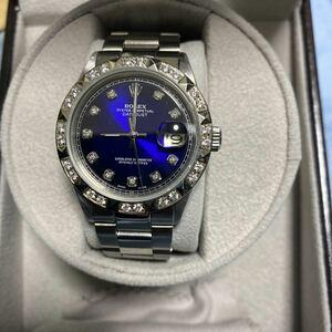 ★ロレックスデイトジャストメンズ 本物保証★ブルー天然ダイヤモンド& 1601 Cal1570 新品仕上げ、オーバーホール済