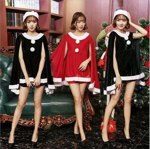 クリスマス サンタ Christmas 衣装 コスプレ サンタクロース コスチューム 3set ブラック Fの商品画像