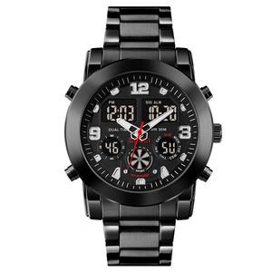 ☆新品 SKMEI アナデジハイブリット 多機能 3タイム時間表示 デジタルカレンダー ストップウォッチ アラーム LED照明 日本未販売 腕時計