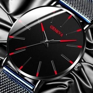 ☆彡新品 GENEVA 黒い文字盤に赤い針が浮き出るとてもおしゃれなメンズクオーツウォッチ