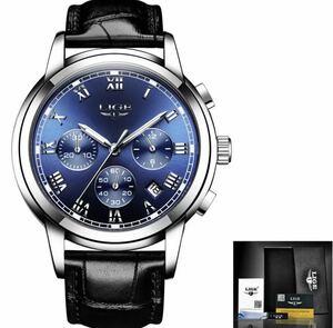 【1円】◆ 海外大人気ブランドLIGE メンズ高品質腕時計 クロノグラフ 防水 耐衝撃 レザーバンド 紳士 ウォッチ クォーツ時計 1422