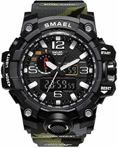 超安値!グリーン SMAEL ミリタリー 迷彩風 アナデジ 腕時計 メンズ 男性 アラーム クロノグラフ 多機能 スポーC38R