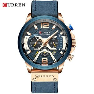 腕時計 カレン メンズ カジュアルレザー 防水 クロノグラフ スポーツ クォーツ時計レロジオMasculino rose blue