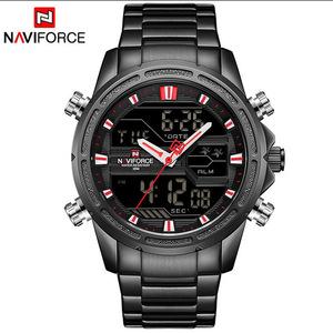 腕時計 メンズ 防水 LED デジタルスポーツ時計 black red