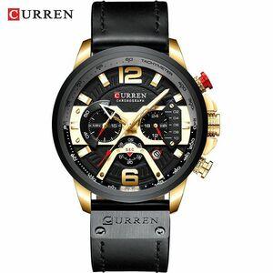 腕時計 カレン メンズ カジュアルレザー 防水 クロノグラフ スポーツ クォーツ時計レロジオMasculino gold black