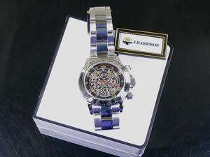 送料無料 J.HARRISON/ジョンハリソン Wスケルトン自動巻腕時計JH-003RB
