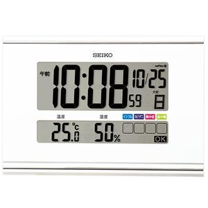 最落1円 訳あり品 セイコー電波置掛時計 わかりやすい液晶画面 SQ445W