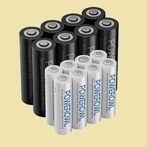 在庫残りあと僅か PSE安全認証 Powerowl単4単3形充電式ニッケル水素電池16個パック 6-DT 自然放電抑制