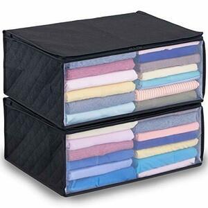 衣類収納ケース 2個組 2)2個組 アストロ 収納ボックス 衣類用 2個 黒 不織布 活性炭消臭 6